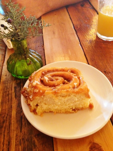 Cinnamon roll at Farm and Table